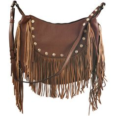 Liquorish Brown Fringed Cross Body Bag With Studs ($51) ❤ liked on Polyvore featuring bags, handbags, shoulder bags, accessories, purses, brown, fringe handbags, brown fringe purse, fringe purse and brown purse