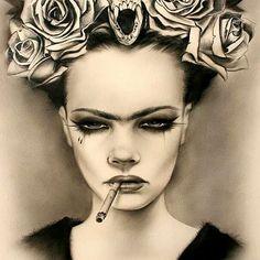 """#Art #Drawing #Sketch #Illustration #Painting #FridaKahlo #Flowers #Bones ARTIST: #BrianMViveros #RandomMishaness #MishaLi777 #DailyArtInspiration ♡…"""