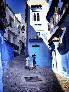 A beautiful street of Chefchaouen (Morocco)