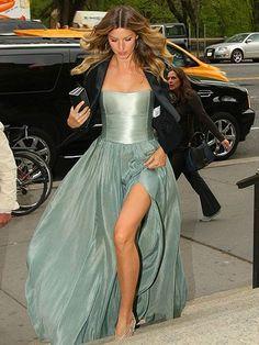 Gisele Bundchen's light teal, thigh-high slit gown at the 2014 Rainforest Alliance Gala in New York City   allure.com