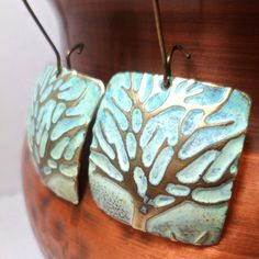 Winter Earrings Embossed Brass With Tree and Snow by NedjmaBazaar, $25.00