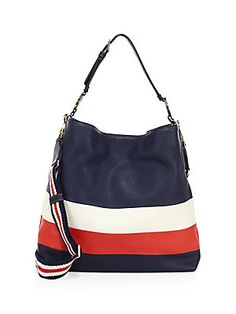 Tory Burch Duet Stripe Leather Hobo Bag