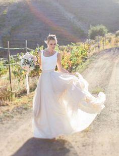 Carol Hannah two peice wedding dress / http://www.deerpearlflowers.com/two-piece-wedding-dresses/