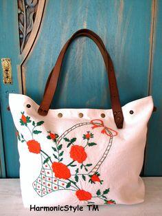 4-V.upcycled hand embroidered bag/linen bag/upcycled antique embroidery/linen shoulder bag/hand embroidery bag/reused embroidery/handbag