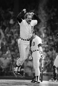 Game 5 WS - Kirk Gibson jumps after his eighth-inning home run that helped the Tigers beat San Diego, 8-4, and win the World Series on Oct. 14, 1984 in Detroit. (AP Photo/Rusty Kennedy)
