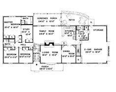 First Floor Plan of Colonial Ranch Retro Traditional House Plan 9850