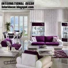 Purple White Furniture For Living Room Sofas Sets