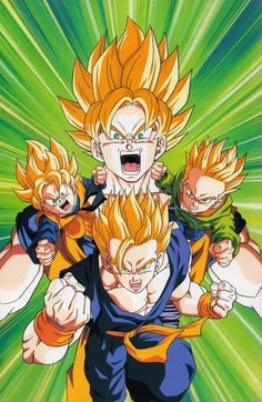 SSJ Goku, Gohan, Goten, and Trunks