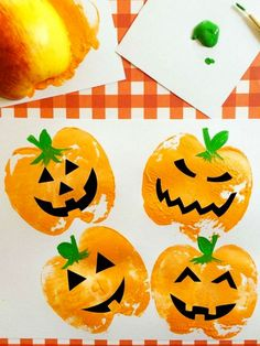 Pumpkin Apple Stamps: Apples and craft paint make the cutest pumpkins! Click through to find more easy and cute fall crafts for kids to make. Kids Crafts, Craft Projects For Kids, Crafts For Kids To Make, Arts And Crafts Projects, Project Ideas, Children Projects, Craft Ideas, Kids Diy, Decor Crafts