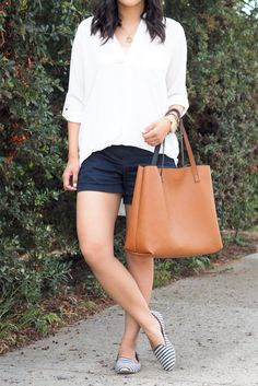 Simple With Stripes. Copy this with my new b&w striped flats.