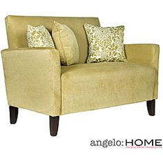 Sutton transitional designer loveseat designed by Angelo Surmelis - overstock.com