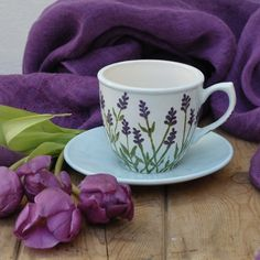 Lavender Cup and Saucer - Folksy Mason Jar Vases, Clear Glass Vases, Fused Glass Art, Pottery Painting Designs, Pottery Designs, Pottery Art, Ceramic Cafe, Glass Tea Cups, Watercolor Projects