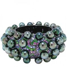 TARA & SONS   Museum Collection cuff with silver Tahitian pearls and 54.25 carats of multicolor sapphires   {ʝυℓιє'ѕ đιåмσиđѕ&ρєåɾℓѕ}