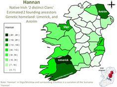 Hannan   Irish Origenes: Use Family Tree DNA to Discover Your Genetic Origins   Clans of Ireland   Irish Surnames Map