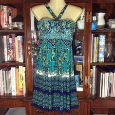 NWT Paisley dark jade and navy tube dress, Large NWT paisley design dress with halter top and back time. Empire waist look with scalloped top. Dress is by City Triangles from  Macy's. Please ask before buying. SALE IS FINAL / NO RETURN City Triangles Dresses