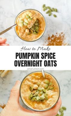 These greek yogurt pumpkin spice overnight oats are an easy and healthy breakfast recipe full of protein and fall flavor! | @sinfulnutrition #sinfulnutrition #healthypumpkinoatmealrecipe #pumpkinovernightoatsrecipe Vegetarian Breakfast, Healthy Breakfast Recipes, Healthy Recipes, Breakfast Ideas, Healthy Eats, Oatmeal Recipes, Pumpkin Recipes, Fall Recipes, Quick Dinner Recipes