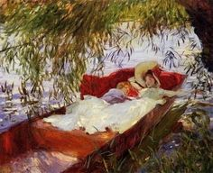 John Singer Sargent (American expatriate artist, 1856-1925) Two Women Asleep in a Punt Under the Willows