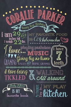 "PERSONALIZED & CUSTOM ""Favorite Things"" Digital Chalkboard Poster, Sign, First, Birthday, Baby, Child, JPG File, Print. $30.00, via Etsy."