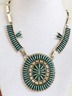 Artist BY signed Zuni Needle Point Turquoise & Sterling Silver .925 Necklace | eBay