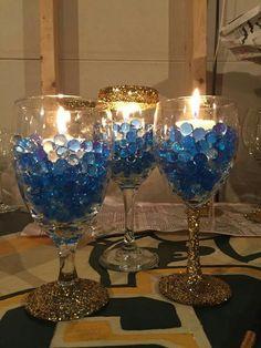 Royal Blue Centerpieces, Royal Blue Wedding Decorations, Blue Party Decorations, Sweet 16 Decorations, Lighted Centerpieces, Wedding Table Decorations, Blue Birthday Parties, Diamond Party, Denim And Diamonds