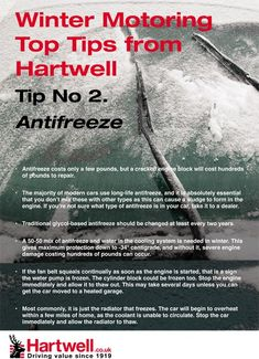 Tips on antifreeze from Hartwell Plc. #winter #tips #motoring #cars #hartwell #antifreeze