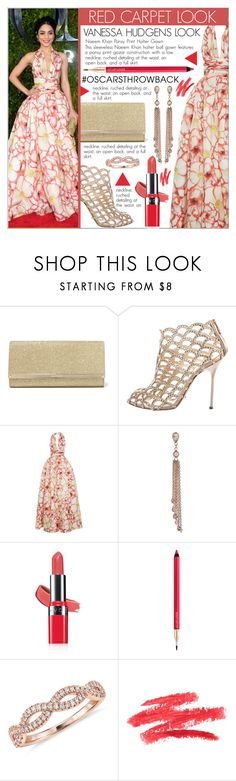 """RED CARPET LOOK"" by celine-diaz-1 ❤ liked on Polyvore featuring Jimmy Choo, Sergio Rossi, Naeem Khan, Jacquie Aiche, Avon, Lancôme and Blue Nile"