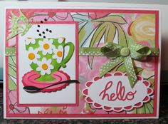 "Springtime with Brushed Paperpak, and waking up in the morning and having a cup of coffee on the patio and a butterfly coming over to say ""Hello"" while checking out the daisies on the cup.  CMH Color Dare #137 Sapphire Winner.  http://iluvscrapping2.blogspot.com/2015/04/hello-coffeespring.html"