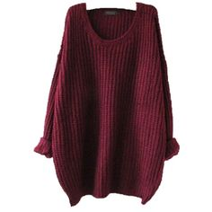 Women Oversized Knitted Sweater Batwing Sleeve Tops Loose Outwear Coat... ($9.65) ❤ liked on Polyvore featuring tops, sweaters, long sleeves, red, shirts, long sleeve pullover, loose pullover sweater, purple pullover sweater, pullover sweater and bat sleeve sweater
