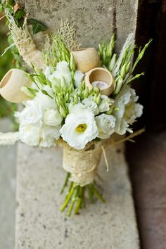 White & Rustic Bridal Bouquet   Destination Italy Wedding Inspiration Shoot   Images By Mike Larson   Styling & Flowers by Alchemy Fine Events   http://www.rockmywedding.co.uk/an-italian-love-story/