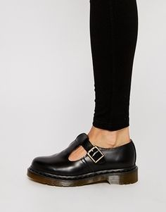 Dr Martens Core Polley T-Bar Flat Shoes - Black