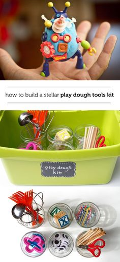 How to make a play dough tool kit for kids using household items you already have. Take play dough playtime to a new level!
