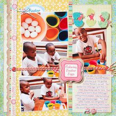 Image detail for -Easter Scrapbook Pages: Colorful Egg Decorating Page