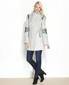 Calvin Klein Coat, Colorblock Faux-Leather-Trim - Womens Coats - Macy's