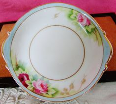 NIPPON Butter Pat  / Butter Chip / Cup Plate / Nut Dish Blue Vintage Japanese Porcelain China Antique Roses Gilt by pegi16, $15.99