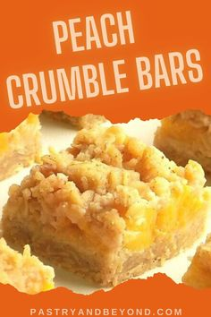 Peach Crumble Bars-These peach bars are crunchy, soft and slightly chewy. You'll need the same dough for the crust and the topping to make these delicious peach oatmeal bars. Peach Crumble Bars, Crumble Topping, Peach Oatmeal, Easy Baking Recipes, Cookie Recipes, Dessert Recipes, Apple Pie Bars, Easy Sweets, Greek Yogurt Recipes