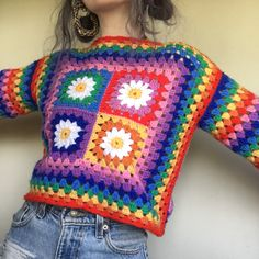 Your place to buy and sell all things handmade Crochet Clothes, Diy Clothes, Crochet Stitches, Crochet Patterns, Knitting Patterns, Hippie Crochet, Knit Crochet, Crochet Pants, Crochet Daisy