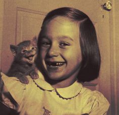 Vintage Photo of Laughing Girl and Kitten