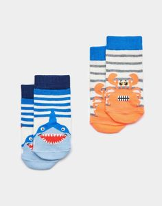 Joules US NEAT FEET Baby Boys Two Pack Bamboo Socks Coastal