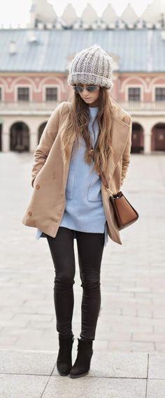 Blue Pockets Sweater Big Beanie / Best LoLus Street Fashion
