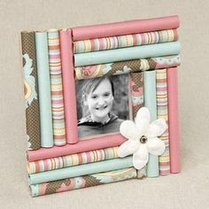 Paper picture frames using rolled up scrap paper.