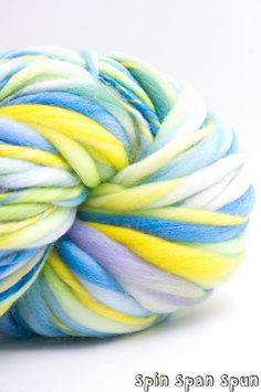 Summer Paysage Thick and Thin Bulky Yarn HandSpun by SpinSpanSpun, $51.00
