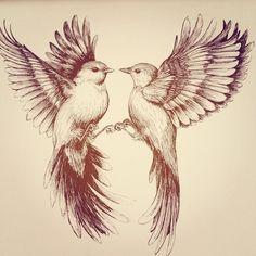 Flying bird drawing by Linn Warme