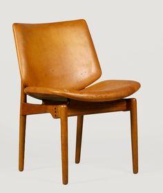 Finn Juhl; #116 Teak and Leather Side Chair for Bovirke, c1950.