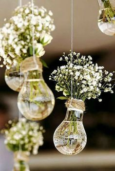 Wedding Flowers 65897 budget rustic wedding decorations flowers gypsophila in vases similar to light bulbs suspended on a rope colin cowie weddings Wedding Table, Wedding Ceremony, Gown Wedding, Wedding Cakes, Lace Wedding, Wedding Rings, Wedding Dresses, Wedding Entrance, Wedding Arches