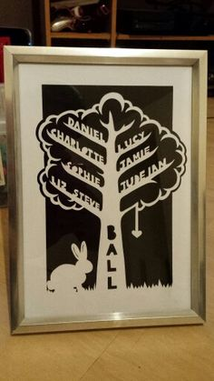 Present for my nan in law :) I think this one only took a few hours as I found some decent paper. #papercutter #papercutting #papercut #art #craft #scalpel #handmade #oneofakind #familytree