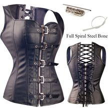 Summer Party Steampunk Hot Sale Steampunk Black Lace up Zip Faux Leather Cool Bustier Overbust Brocade Top Corset Size S-6XL(China (Mainland))