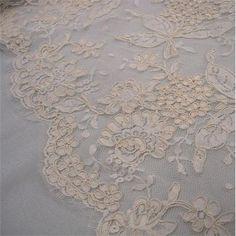Brodé ivoire /& festonnée tulle tissu en dentelle 115 cm Bridal Craft Sewing