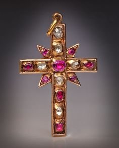 Renaissance Ruby Diamond Cross Pendant c1580 | From a unique collection of vintage drop necklaces at http://www.1stdibs.com/jewelry/necklaces/drop-necklaces/