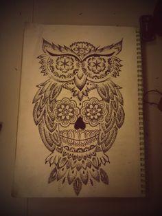 Sugar Skull Owl Tattoo Outline 91789 | UPSTORE