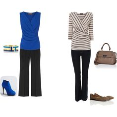 styleunearthed.com helps you dress for your shape. Wide legged pants, bootleg jeans and tops nipped in at the waist will help balance a pear shaped figure.